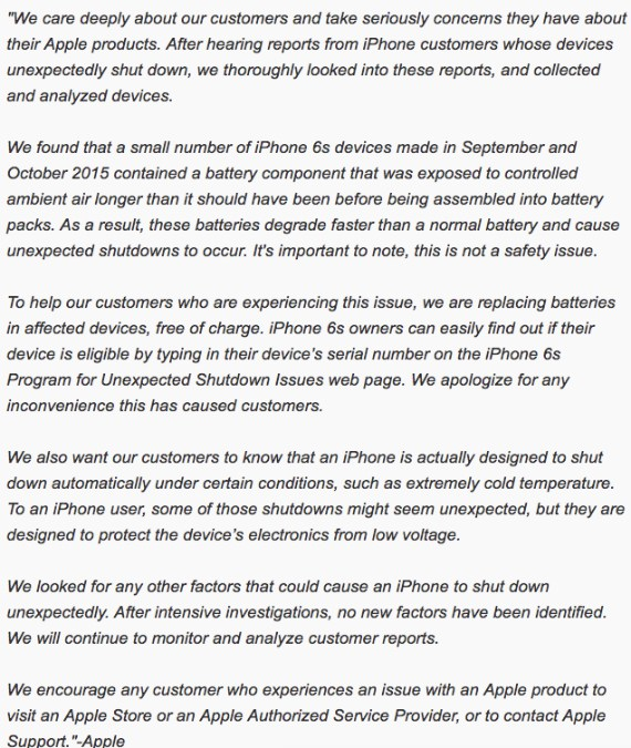 announcement apple for 6s battery problem